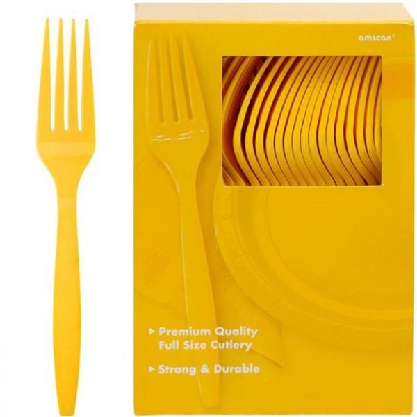 100 żółtych plastikowych widelców