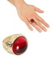 Goldener Ring Mit Rotem Stein