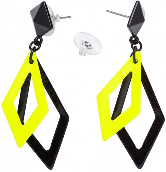 Neon Rauten Ohrringe Gelb-Schwarz