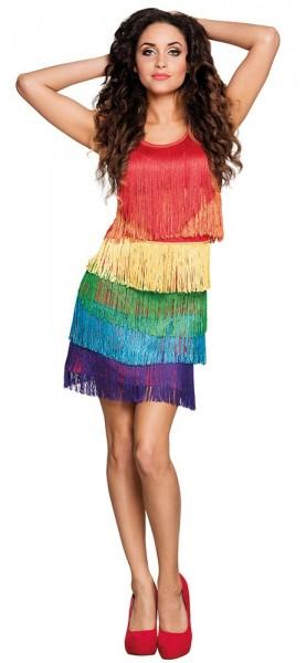 Fransiges Sunny Regenbogen Kleid