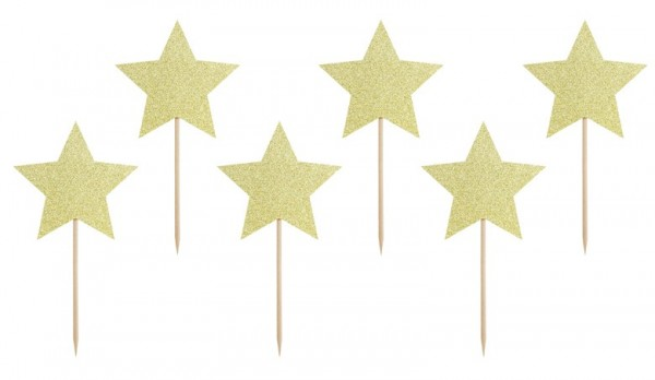 6 Star Shimmer Cupcake Toppers 11.5cm