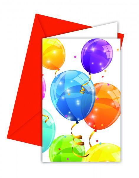 6 Funkelnde Luftballon Einladungskarten