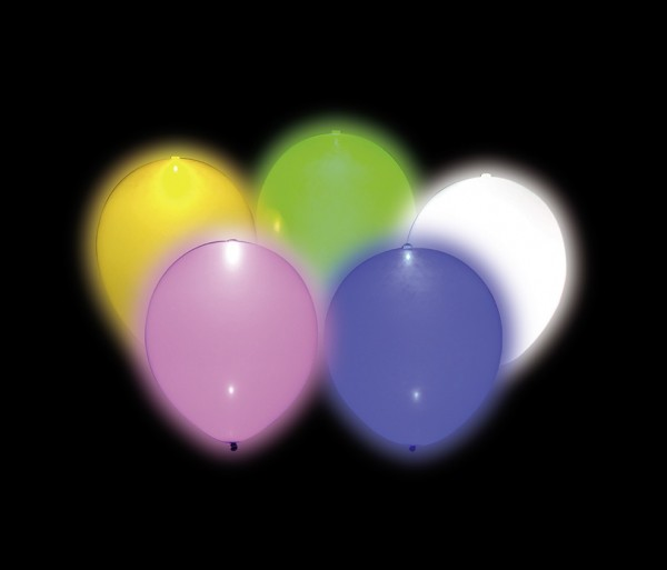5 colorful LED balloons Funky Nightsky 25cm