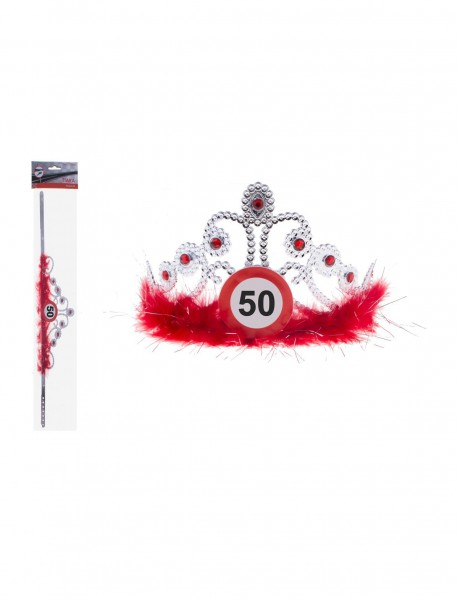 Attention 50 tiara with feathers