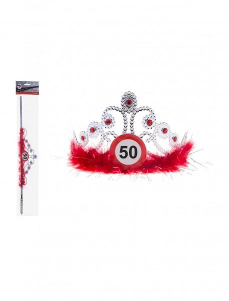Let op 50 tiara met veren