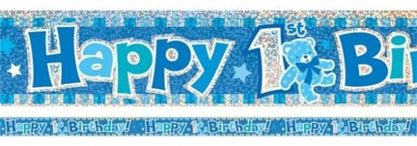 Shimmering 1st Birthday Banner blau 3,7m