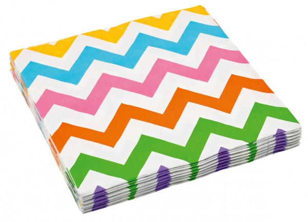 20 Partytime paper napkins with brightly colored points
