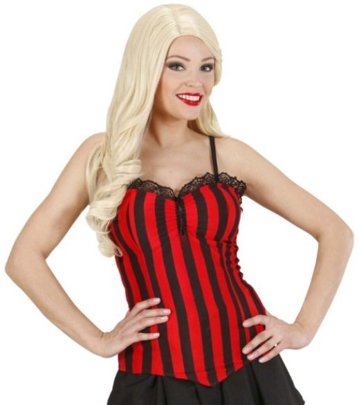 Striped women's corset red black