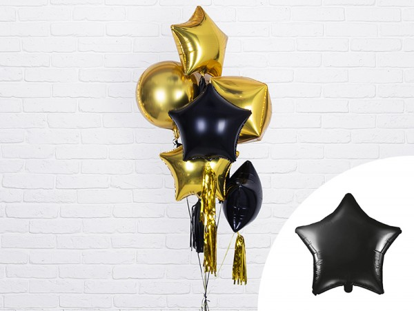 Zwarte sterballon shimmer 48cm