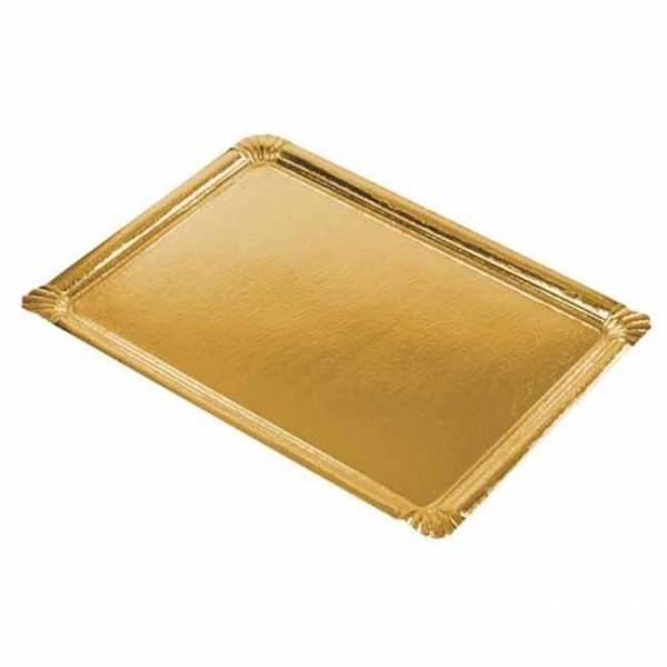 5 piatti da portata in cartone quadrato oro 45,5 cm x 34 cm