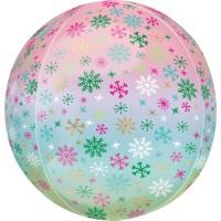 Ombré Schneeflocken Orbz Ballon 40cm