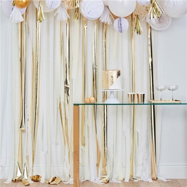 Gold-weißer DIY Fransen Vorhang