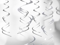 5 Silber metallic Spiralhänger 60cm