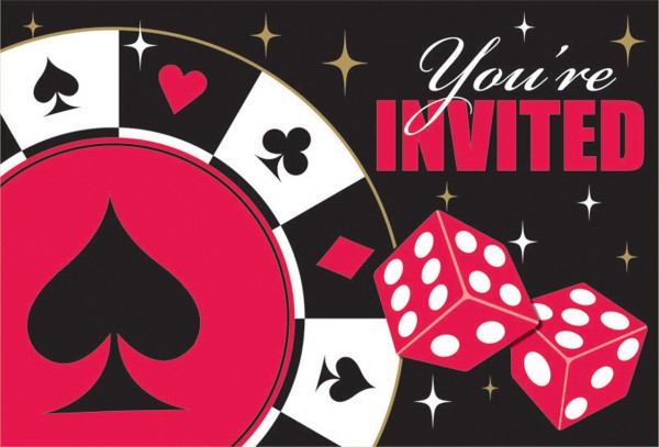 Poker Tournament Einladungskarte Las Vegas 8 Stück