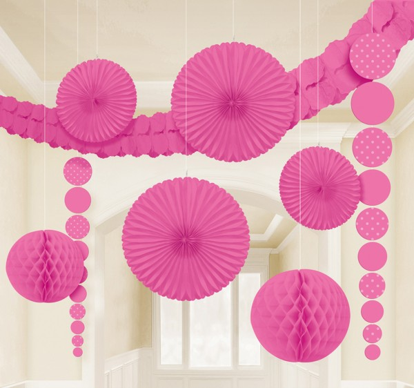 New Romance Party Hanging Decoration Set Pink 9 pieces