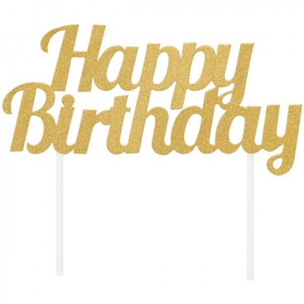 Ozdoba na tort Happy Birthday złota 9 x 18 cm