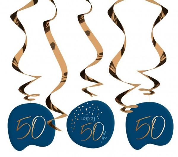 50th birthday hanging decoration 5 pieces Elegant blue