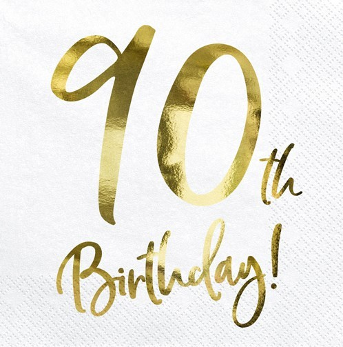 20 Glossy 90th Birthday Servietten 33cm