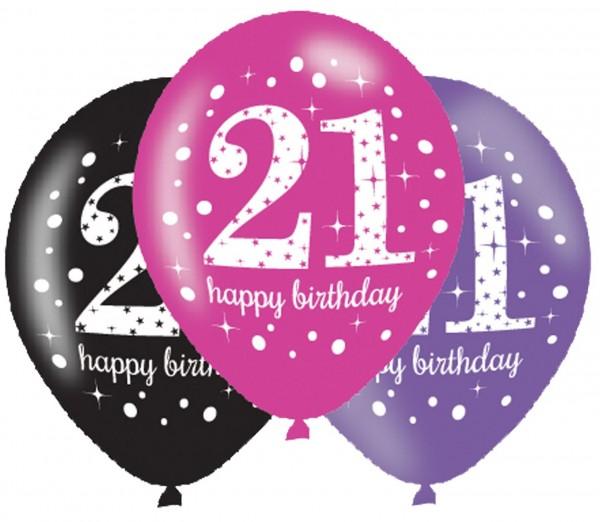 6 Pink 21st Birthday Ballons 27,5cm