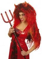 Perruque tête de cheveux diable rouge démoniaque