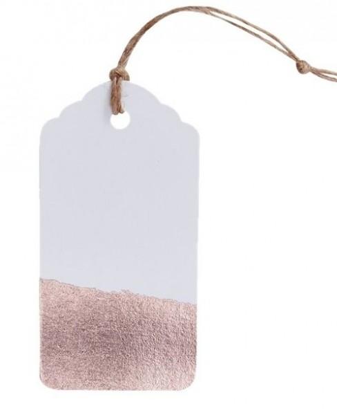 10 étiquettes cadeaux en or rose Hourra