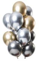12 Latexballons Spiegel Effect gold silber