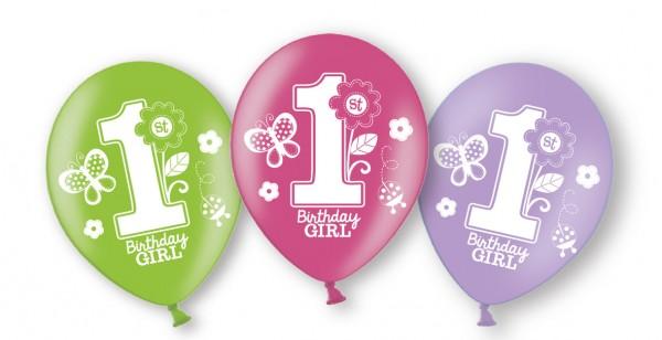 6 Ballons 1.Geburtstag Sweet Birthday Girl
