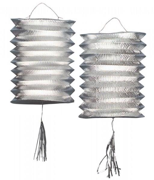 2 lanternes de train argent métallique 25cm