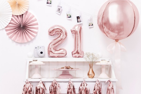 Metallic number balloon 1 rose gold 35cm