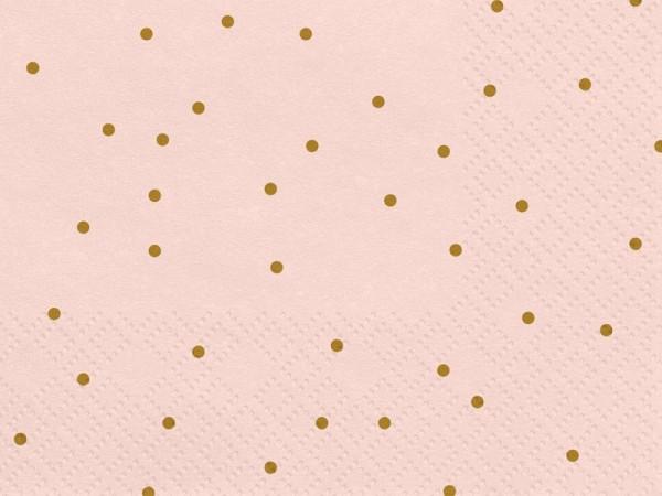 20 serviettes roses à pois dorés 33cm