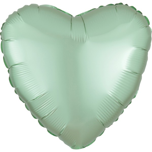 Satin heart balloon mint 43cm