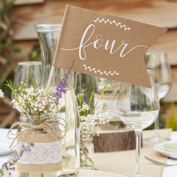 Country love wedding table numbers 1-12