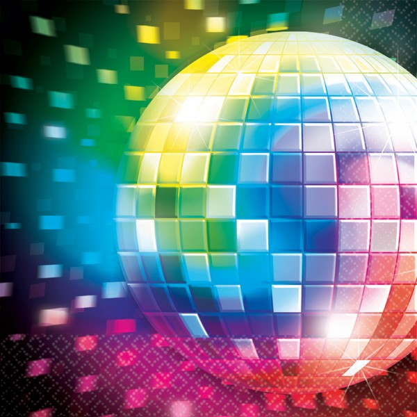 16er Set Disco Fever Serviette Bunte Discokugel 33cm