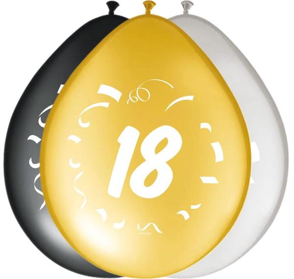 8 Ballons 18 Bday gold-silber-schwarz 1