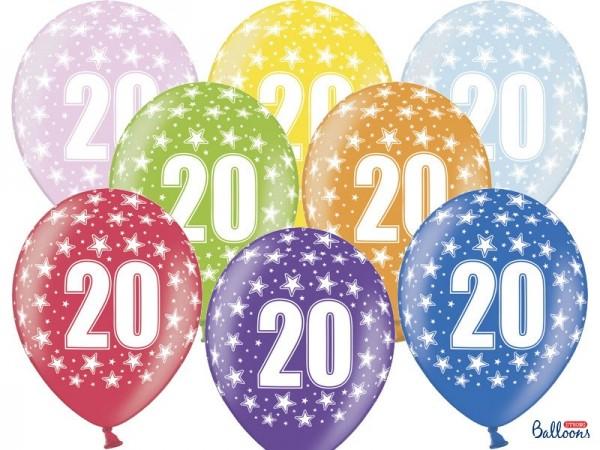 6 Wild 20th Birthday Luftballons 30cm