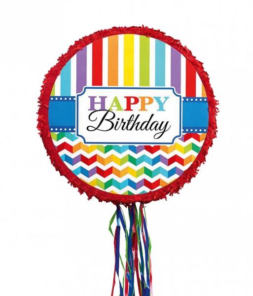 Piñata de tren de cumpleaños arcoíris 45cm