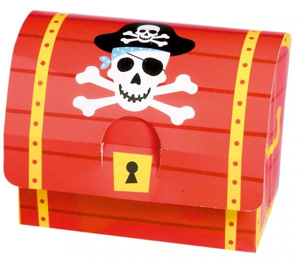Coffre au trésor en feuille de pirate avec symbole de crâne 8 pièces