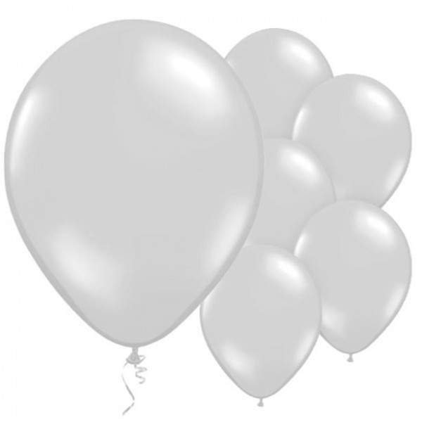 10 Balloons Silver Metallic Passion 28cm