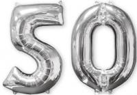Folienballon Zahl 50 silber 66cm
