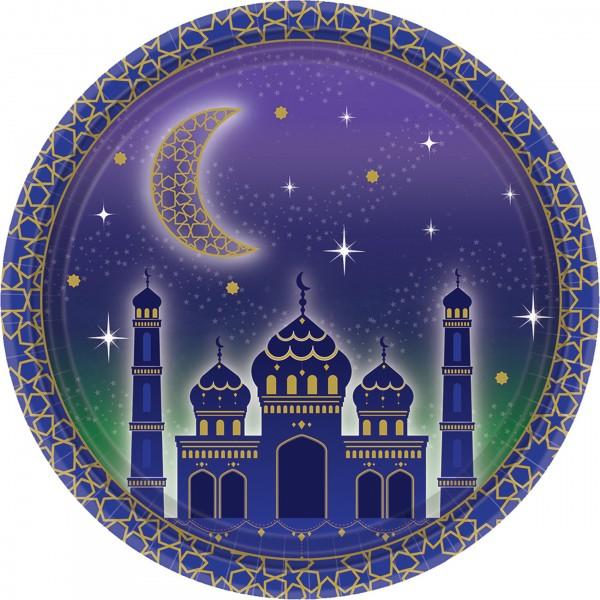 8 platos de papel Eid Mubarak 18cm