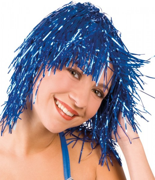 Blaue Disco Girl Lametta Damenperücke