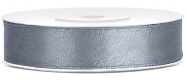 25m satin gift ribbon silver gray 12mm wide