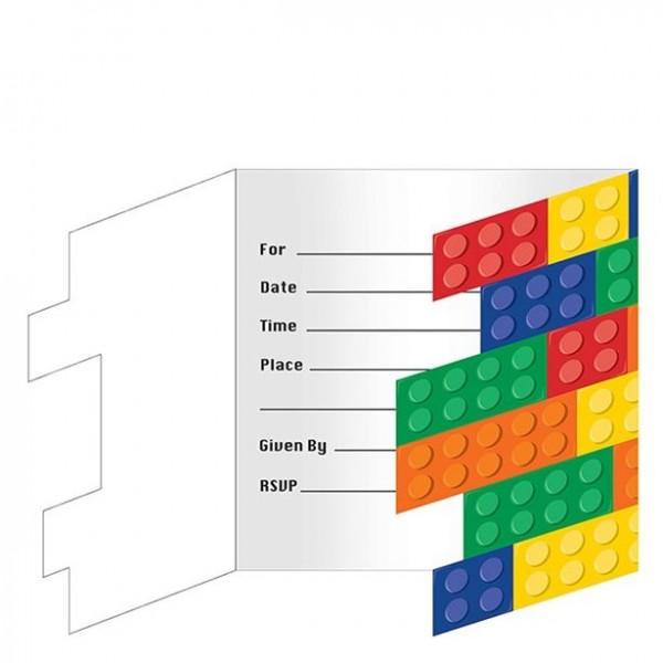 8 Bunte Bausteine Einladungskarten
