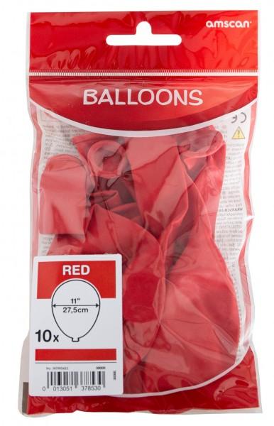 Lot de 10 ballons rouges 27,5 cm