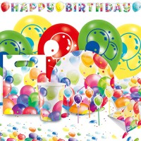 Happy Birthday Balloons Partypaket 68-tlg