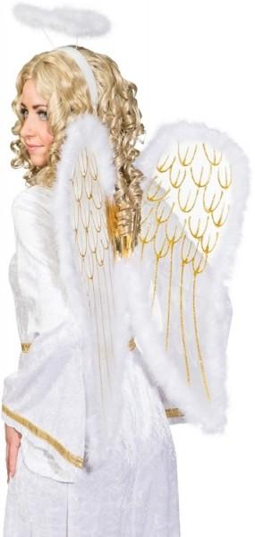 Alas de ángel blanco-dorado con halo