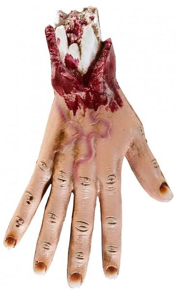 Abgehackte Blutige Hand mit Knochen
