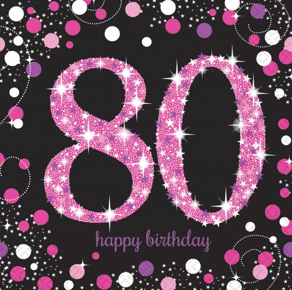 16 pink 80th birthday napkins 33cm