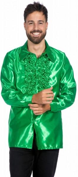 Zielona koszula z falbankami dla mężczyzn