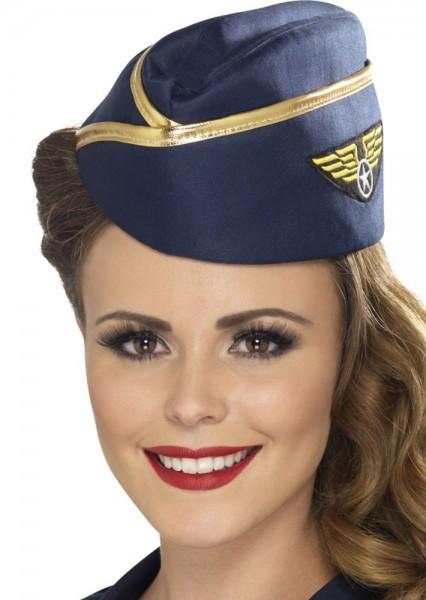 Mütze Flugbegleiterin Blau-Gold